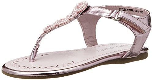 Laura Ashley Girls Beaded Strap Sandal (Toddler),Pink Metal,6 M US (Metal Kids Sandals)