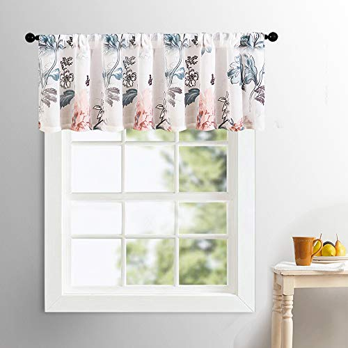 (MRTREES Sheer Valances Curtains 16 inch Length Red Floral Print Valance Cotton Blend Semi Sheers Living Room Leaf Flower Printed Voile Bedroom Window Treatment Rod Pocket 1 Panel )