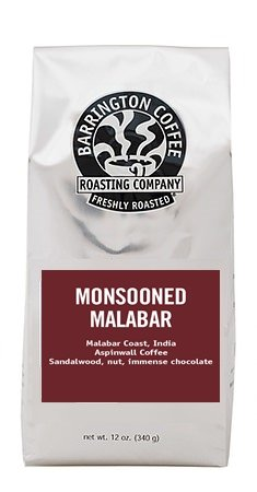 India Monsooned Malabar, Barrington Coffee 12 oz bag, Single Origin Whole Bean Coffee