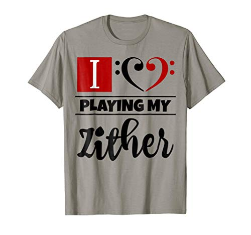 Double Black Red Bass Clef Heart I Love Playing My Zither T-Shirt