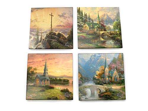 Thomas Kinkade Inspirational Glass Coaster Set - Churches and Chapels Cross Religious Christian - Comes with stylish modern wooden holder