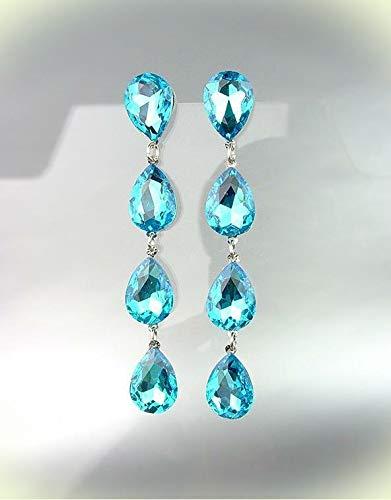 GLITZY Teal Blue Czech Crystals Chandelier Pageant Prom Earrings For Women Set 4320L ()
