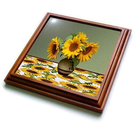(3dRose Beverly Turner Flora Design - Image of Beautiful Vase of Sunflower on Sunflower Tablecloth - 8x8 Trivet with 6x6 ceramic tile (trv_302000_1))