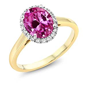 10K Two-Tone Gold Pink Created Sapphire and Diamond Engagement Ring 2.40 Ct