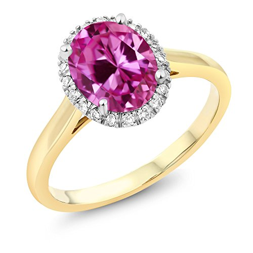 10K Two-Tone Gold Pink Created Sapphire and Diamond Halo Engagement Ring 2.40 Ct (Size 9) - Pink Sapphire Two Tone Ring