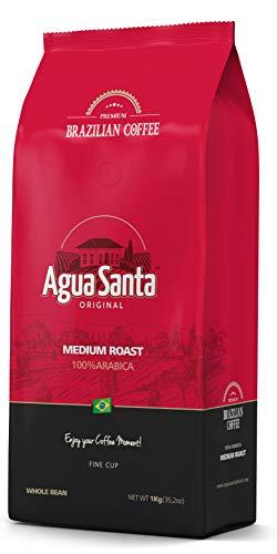 """Agua Santa"" Whole Bean Coffee Medium Roast, Single Origin Brazilian Coffee – Direct Trade – From Farm to Cup – 2.2 lb…"