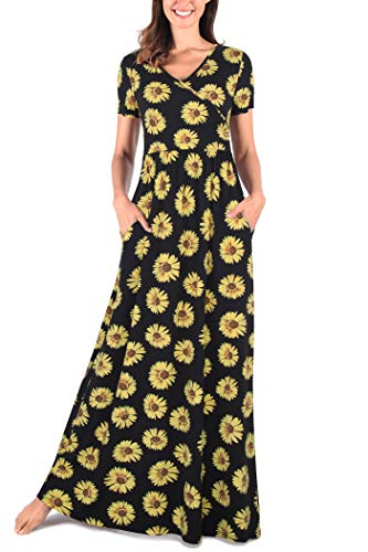 Comila Women's Summer V Neck Short Sleeves Casual Floral Maxi Dress with Pockets Fashion Pattern Bohemian Sundress Black Yellow M US(8/10)