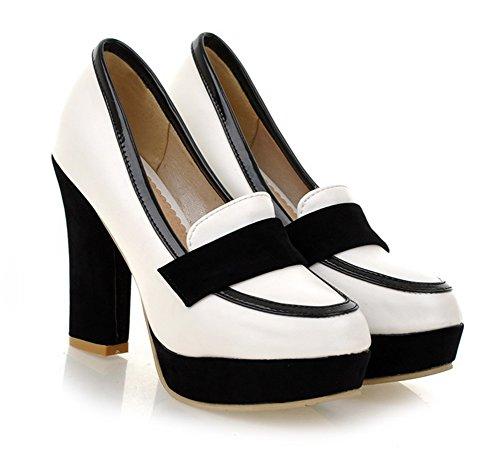 Talon Rond Bout Femme Plateforme Mode Haut Aisun Escarpins Blanc x46gETw4