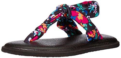 Sanuk Kids Girls' Lil Yoga Sling Ella Prints Flip-Flop, Black Waikiki Floral, 09/10 M US Toddler ()