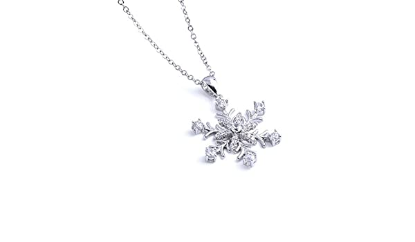Snowflake Brass Christmas Holiday Stud Cubic Zirconia Necklace Jewelry Gift CZN117-S