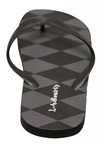 LA Beauty MSY017 Mens summer beach cool plaids & checks sole thong flip flop Black V9IGehdqa3