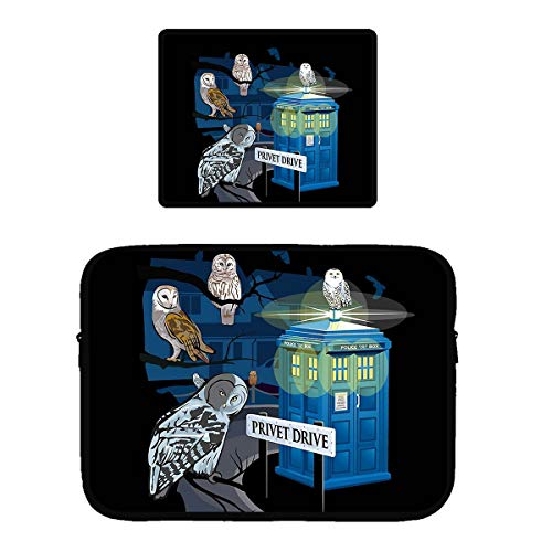 Beach Surfers Owl Who Privet Drive Owls Computer Set Portable Gaming Mouse Pad and Laptop Sleeve Bag/Cover Mousepad for 15 Inch