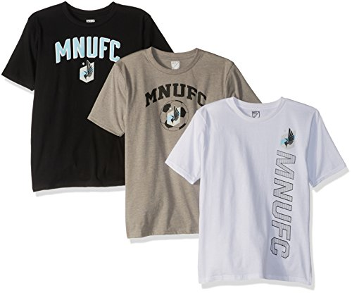 Outerstuff MLS MLS Youth Boys 3 Piece Short Sleeve Tee Set, Black, Medium(10-12) ()