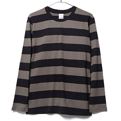持続する百年ただやる(エムエイチエー) M.H.A.style 5.0オンス ボールドボーダー ロングスリーブ Tシャツ ロンT 定番 10035
