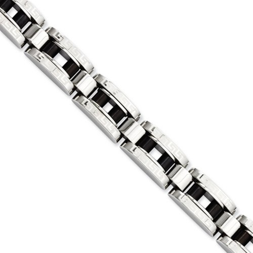 Icecarats Créatrice De Bijoux En Acier Inoxydable Ip Noir Plaqué Bracelet 8.5In Clé Grecque En 8,5 Pouces
