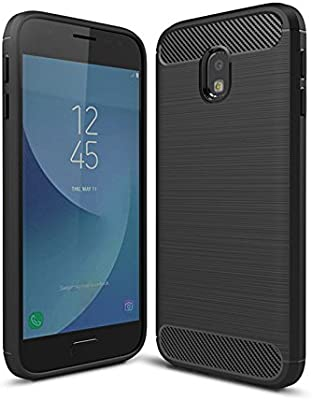 SDTEK Funda para Samsung Galaxy J3 (2017) [Fibra de Carbon TPU] Case Bumper Cover Suave Silicona para Samsung Galaxy J3 (2017) (Negro): Amazon.es: Electrónica