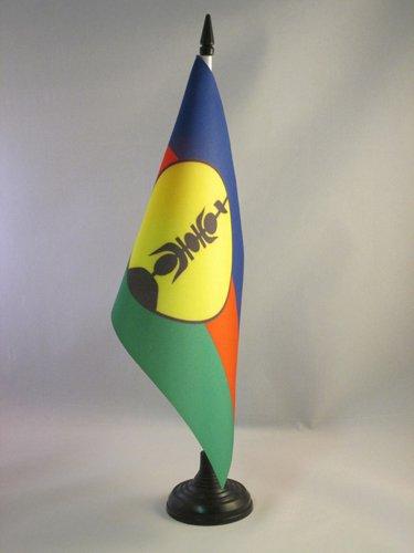AZ FLAG New Caledonia Table Flag 5'' x 8'' - New Caledonian Desk Flag 21 x 14 cm - Black Plastic Stick and Base - Flag New Caledonia