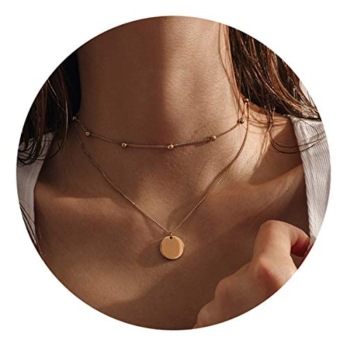 (Layered Pendant Necklaces,14K Gold Plated Bead Chokers Coin Disc Dainty Handmade Delicate Cute Pendants Necklaces Jewelry Gifts for Women)