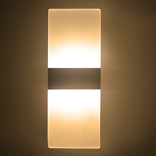 Modern Acrylic AC 85-265V 6W LED Wall Lamp Light Sconce Decorative Light Fixture for Bedroom, Living Room, Balcony, Corridor, Bar, Coffee House, Warm White(It Is Wired, Plug Not Include)