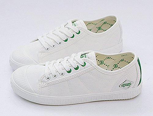 Aisun Damen Klassisch Canvas Cap Toe Runde Zehen Low Top Schnürsenkel Flache Sneakers Weiß-Grün
