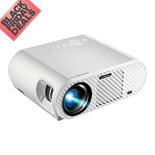 ERISAN 720P Video Projector (Warranty Included), 3500 Luminous Efficiency, Native Resolution 1280x800, with HDMI Support 1080P VGA USB AV TV Laptop for Entertainment (White)