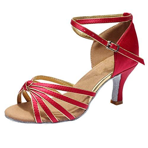 Hotcl Women Professional Latin Dance Shoes Rumba Waltz Prom Ballroom Latin Salsa Dance Sandals Shoes 2.8'' High Heel (B_Wine, US:7)]()
