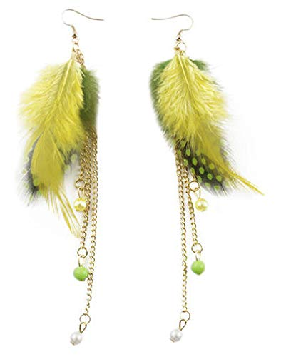1set Vogue Multi-Colored Light Feather Bead Golden Chain Dangle Earrings hot