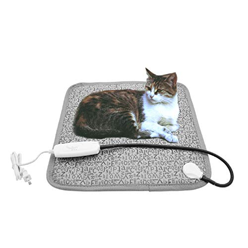 Pet Heating Pad, Dog Cat Electric Heated Blanket Mat, Temperature Warming Cushion Bed with Anti Bite Tube