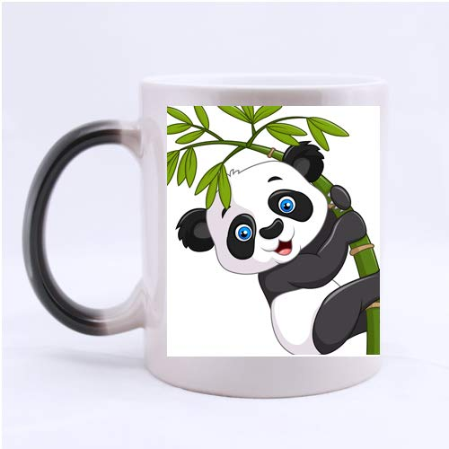 COLORSFORU Cute Funny Baby Panda Hanging On Custom Morphing Mug Coffee Tea Water Beverage Cup Heat-activation Color Changing Ceramic Mug