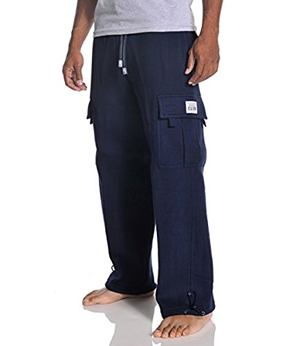 Pro Club Men's Heavyweight Fleece Cargo Pants, 5X-Large, Navy - Heavyweight Fleece