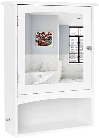 VASAGLE Mirror Cabinet, Bathroom Wall Storage Cabinet with Adjustable Shelf, Medicine Cabinet, Wooden, White, 18.9 x 6.3 x 25.6 Inches UBBC21WT