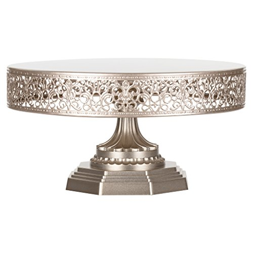 (Amalfi Decor 12 Inch Champagne Cake Stand, Metal Round Wedding Event Birthday Party Dessert Cupcake Pedestal Display Plate, Victoria Collection)