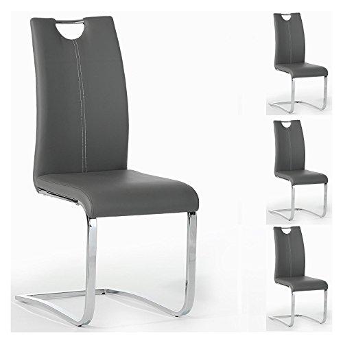 Esszimmerstuhl Schwingstuhl SABA, Set mit 4 Stühlen, chrom/grau