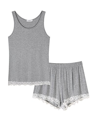 Set Check Pj (Coolmee Womens Lace Sexy Pajama set Sleeveless PJ Tank and Shorts Sleepwear Gray XL)