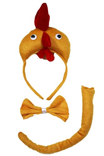 Petitebella 3D Headband Bowtie Tail Unisex Children 3pc Costume (3D Hen Chicken) -