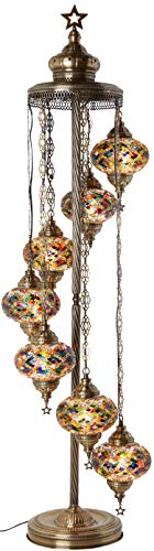 DEMMEX - 7 Big Globes Turkish Moroccan Mosaic Floor Lamp Light, Bohemian Boho Tiffany Mosaic Floor Lamp with North American Plug & Socket, 55