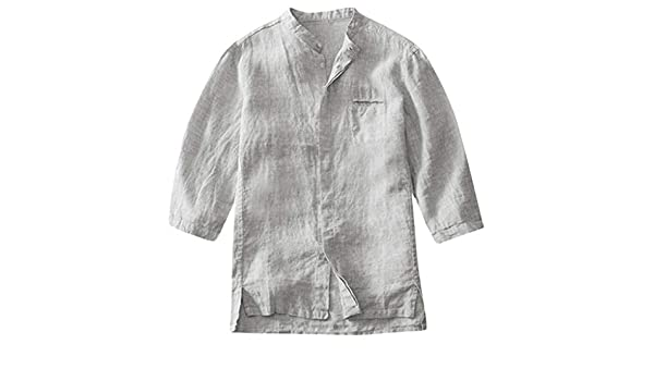 MOTOCO Camisa de algodón y Lino con Textura de Coco con Textura, Camisa Ligera de Verano, Manga Corta, Top(XL, Gris): Amazon.es: Ropa y accesorios