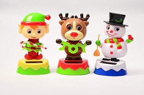 #1 Gift Christmas Friends Bobblehead Solar Dancing Elf Reindeer and Snowman Move with the Sunshine - SET OF 3 by Christmas House ()