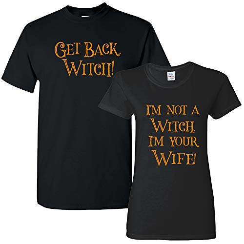 UGP Campus Apparel Get Back, Witch! Funny Halloween Quote Mens & Womens T Shirt Bundle - Black - Mens L/Womens -