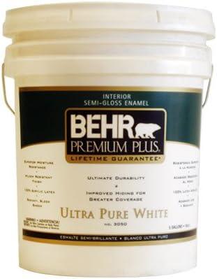 Behr Premium Plus 5 Gal Ultra Pure White Semi Gloss Enamel Zero Voc Interior Paint Amazon Com