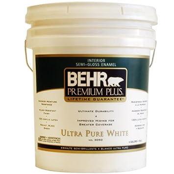 Etonnant BEHR Premium Plus 5 Gal. Ultra Pure White Semi Gloss Enamel Zero VOC