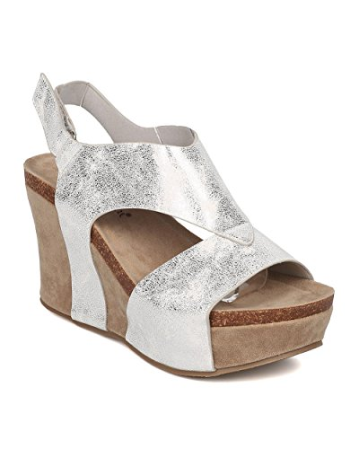 52084049de7e78 Nature Breeze Women Metallic Leatherette Cutout Slingback Platform Wedge  Sandal GH68 - Silver (Size