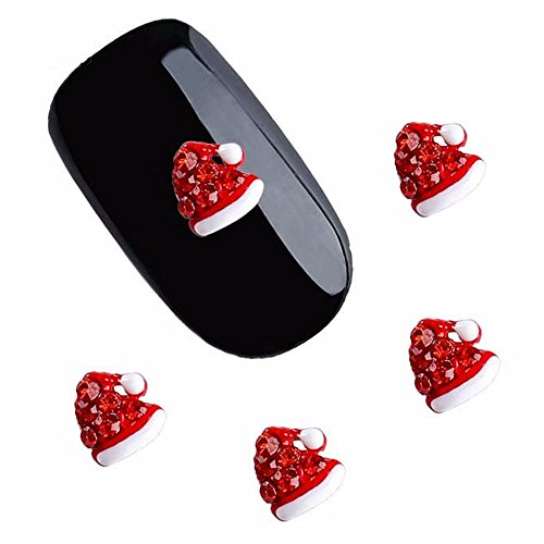 (20pcs/pack Red Chirstmas Hat Metal Rhinestones 3d Nail Art Decorations Alloy Nail Stickers Charms Jewelry for Nail Gel/Polish Tools Scrapbook)