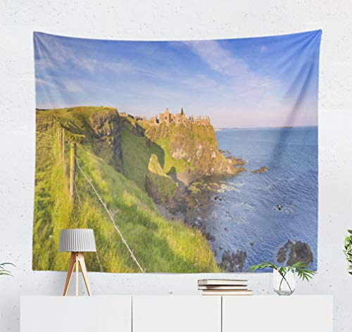 KJONG Morning Sunlight Castle Coast Northern Coast Wire Castle Coast Color Castle Decorative Tapestry,60X50 Inches Wall Hanging Tapestry for Bedroom Living Room ()