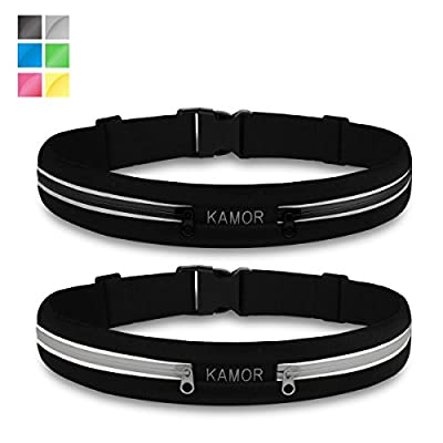 """[2 Pack] Kamor® superior water resistant Running Belts / Runners Belt / Race Belt with 4CM high elastics and 3M reflective strip - Adjustable Band Fits 29"""" - 45""""(75cm-115cm) Waists Comfortably - Two wide expandable pockets best to bring your smartphone"""