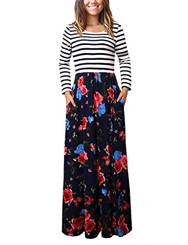 FANSIC Womens Maxi Dresses, Retro Style Floral Printed Long Sleeve Dress,Blue S