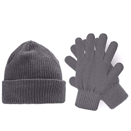 Heat Logic Chenille Gloves and Winter Hat 2 Piece Set for Women and Men in (Grey Chenille, One Size)