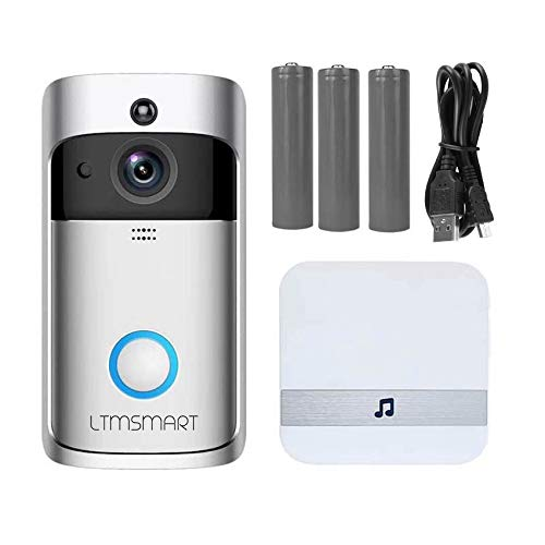 720P HD Wi-Fi Enabled Video Doorbell, LTMSMART Wireless Smart Doorbell Camera with PIR Motion Detection, Night Vision, 2-Way Audio Talk, SD Card Slot, Free Indoor Chime USB Cable 3pcs Batteries