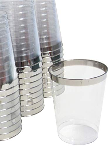 100 Silver Rim 10oz Elegant Clear Plastic Tumbler Cups Disposable Old Fashioned Fancy Party Glasses for Wedding or Special Event ()