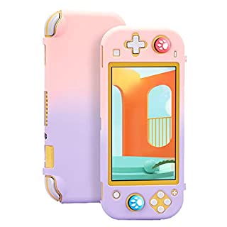 OMKUY Protective Cover Case Compatible with Nintendo Switch Lite, NS Lite Cover Case and Thrumb Grip Joystick Cap (Pink+Purple)